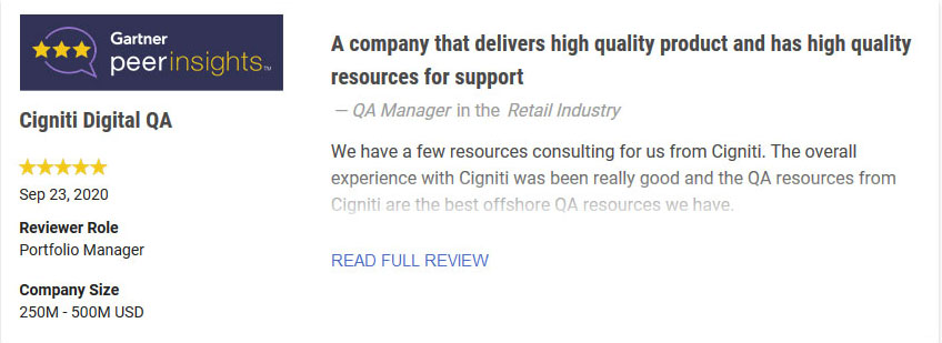 Cigniti Digital Transformation and QA services - review - testimonial