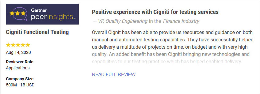 Functional Testing Services - Review - Cigniti Technologies
