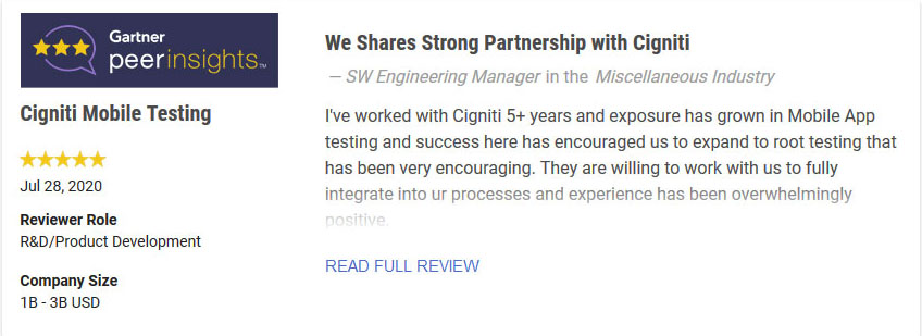 Cigniti Mobile App Testing Review